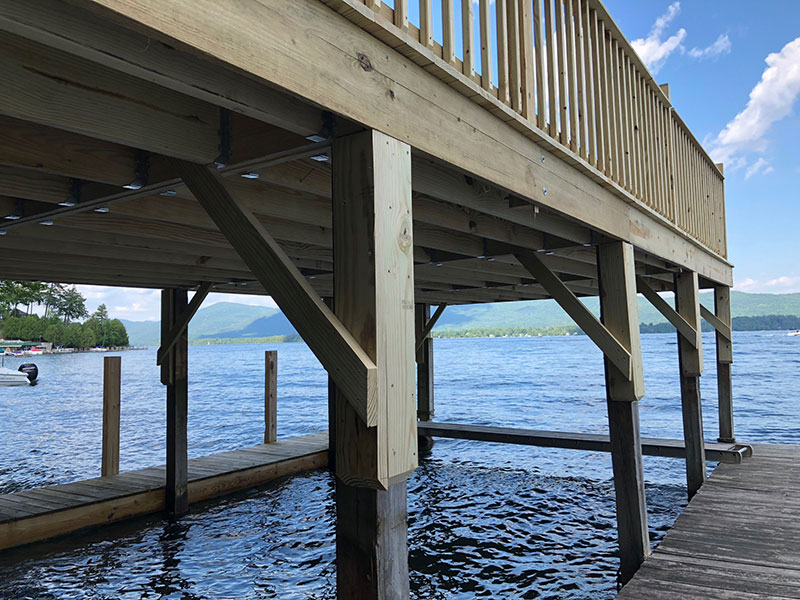 Lake George 14x32 deck with boat storage underneath