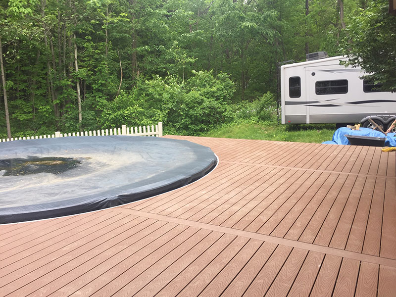 Above ground pool deck with Trex decking and hide a way fasteners - Saratoga County, NY